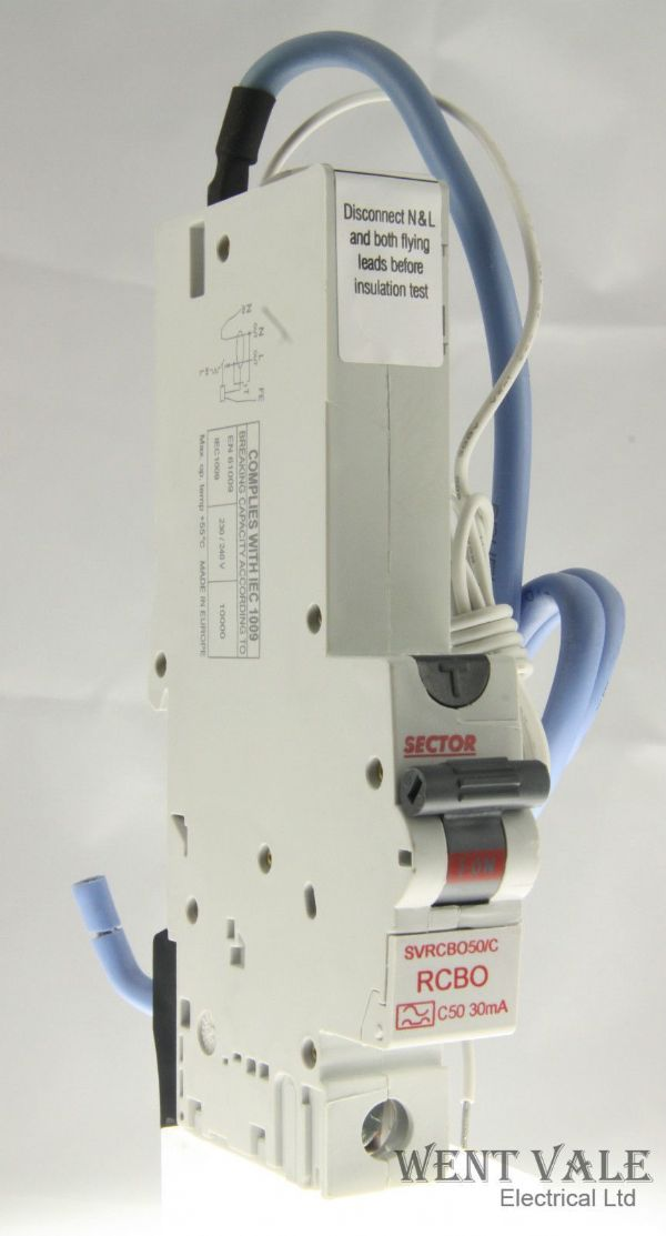 Sector SVRCBO50/C - 50a 30mA Type C Single Pole RCBO Un-used in box